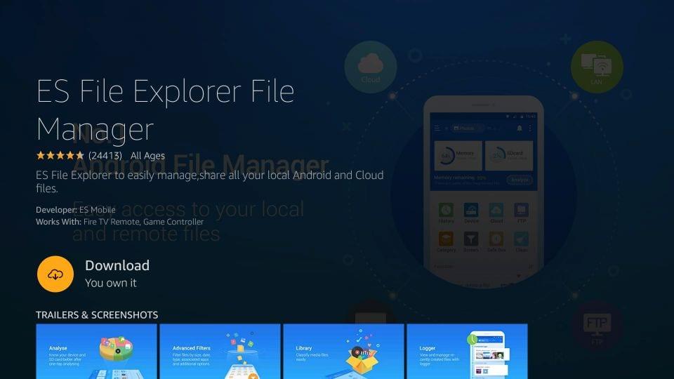 install es file explorer on firestick
