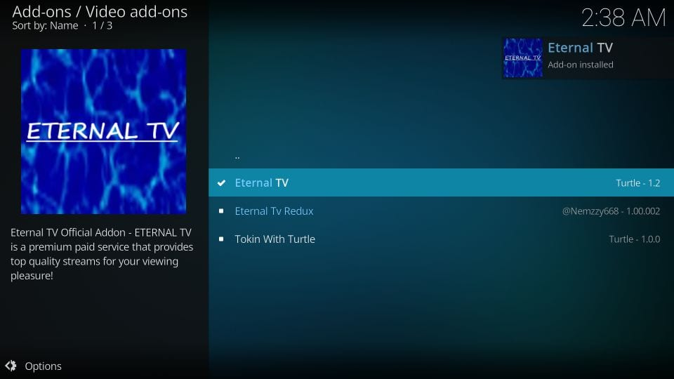 eternal tv kodi addon